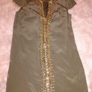 Bebe silk green dress front beaded gold new capslv